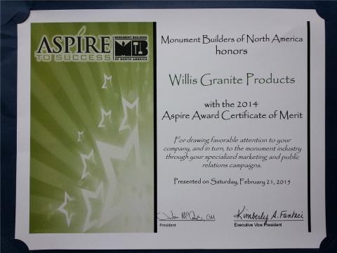 Monument Builders of North America Aspire Award for Willis Granite