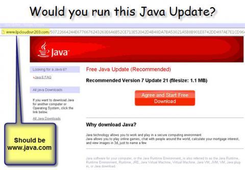 fake java update, junkware scam